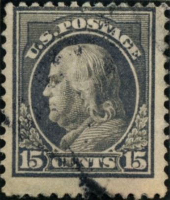 Scott 418 15 Cent Stamp Gray Washington Franklin Series perforated 12 single line watermark