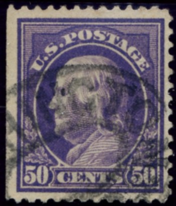 Scott 421 50 Cent Stamp Violet Washington Franklin Series perforated 12 single line watermark