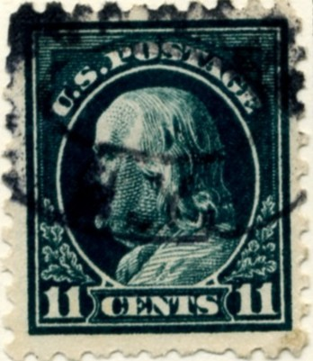 Scott 434 11 Cent Stamp Dark Green Washington Franklin Series perforated 10 single line watermark a