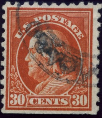 Scott 439 30 Cent Stamp Orange Red Washington Franklin Series perforated 10 single line watermark