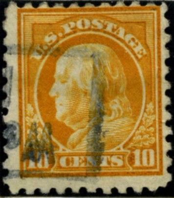 Scott 472 10 Cent Stamp Orange Yellow Washington Franklin Series perforated 10 no watermark