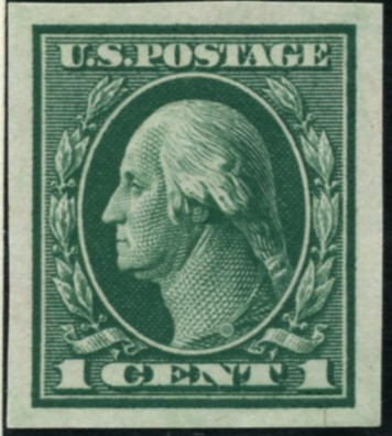 Scott 481 1 Cent Stamp Green Washington Franklin Series not perforated no watermark