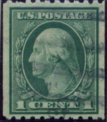 Scott 486 1 Cent Stamp Green Washington Franklin Series perforated 10 horizontally no watermark