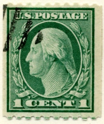 Scott 486 1 Cent Stamp Green Washington Franklin Series perforated 10 horizontally no watermark a