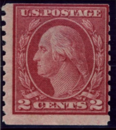 Scott 492 2 Cent Stamp Carmine Type 3 Washington Franklin Series perforated 10 vertically no watermark