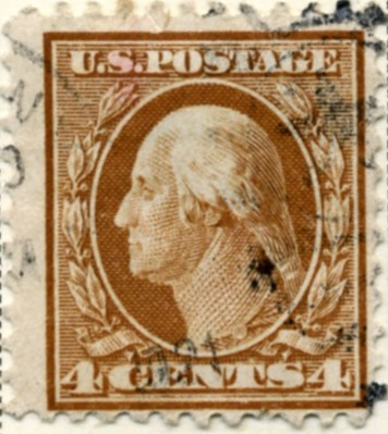Scott 503 4 Cent Stamp Brown Washington Franklin Series perforated 11 no watermark a