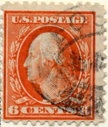Scott 506 6 Cent Stamp Red Orange Washington Franklin Series perforated 11 no watermark a