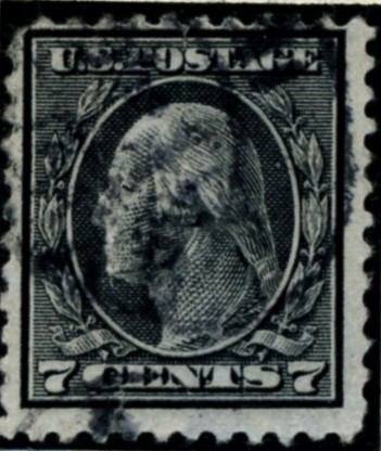 Scott 507 7 Cent Stamp Black Washington Franklin Series perforated 11 no watermark