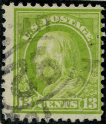 Scott 513 13 Cent Stamp Apple Green Washington Franklin Series perforated 11 no watermark