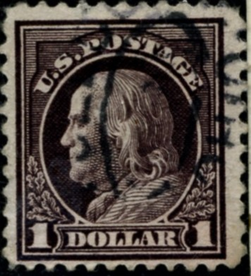 Scott 518 $1 Dollar Stamp Violet Brown Washington Franklin Series perforated 11 no watermark