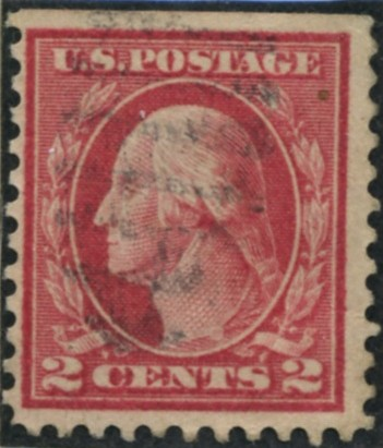 Scott 528 2 Cent Stamp Carmine Type 5a Washington Franklin Series perforated 11 no watermark
