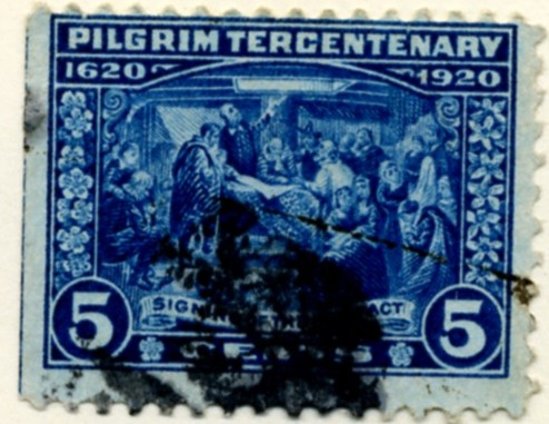 Scott 550 Signing of the Compact 5 Cent Stamp Deep Blue Pilgrim Issue a