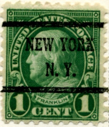 Scott 581 Franklin 1 Cent Stamp Green Series of 1922-1925, Rotary Press a