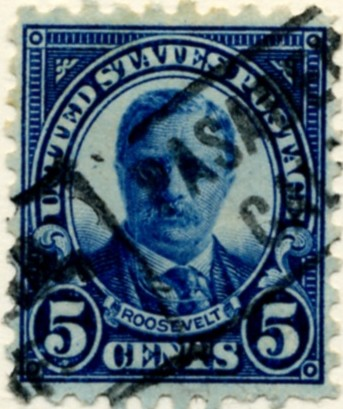 Scott 586 Roosevelt 5 Cent Stamp Blue Series of 1922-1925 Rotary Press a