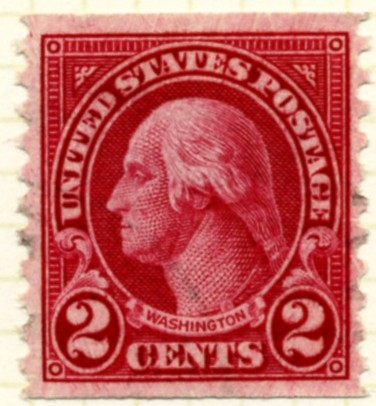 Scott 599 Washington 2 Cent Stamp Carmine Type 1 Series of 1922-1925 Rotary Press coil stamp Perforated 10 vertically c