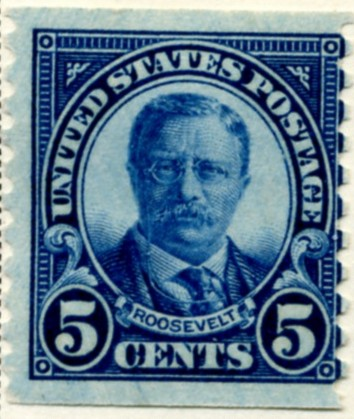 Scott 602 Roosevelt 5 Cent Stamp Dark Blue Series of 1922-1925 Rotary Press coil stamp Perforated 10 vertically a