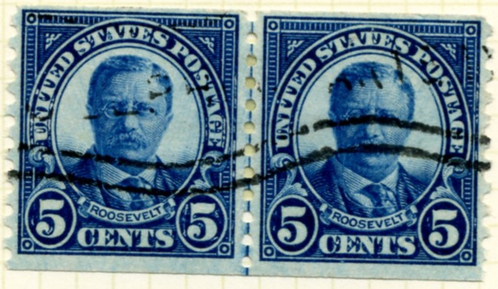 Scott 602 Roosevelt 5 Cent Stamp Dark Blue Series of 1922-1925 Rotary Press coil stamp Perforated 10 vertically pair #a