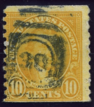 Scott 603 Monroe 10 Cent Stamp Orange Series of 1922-1925 Rotary Press coil stamp Perforated 10 vertically