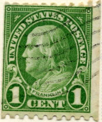 Scott 604 Franklin 1 Cent Stamp Green Series of 1922-1925 coil stamp Perforated 10 horizontally a
