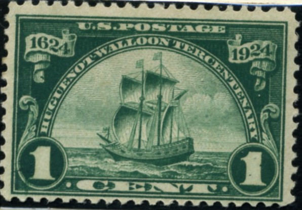 Scott 614 1 Cent Stamp Green Huguenot Walloon Issue