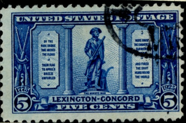 Scott 619 Minute Man 5 Cent Stamp Dark Blue Lexington Concord Sesquicentennial