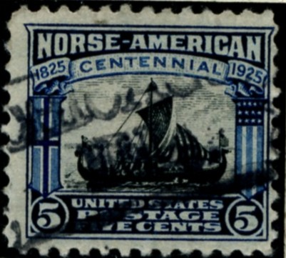 Scott 621 5 Cent Stamp Dark Blue Black Norse American Issue