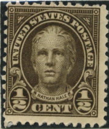Scott 653 Nathan Hale 1/2 Cent Stamp Olive Brown Series of 1922-1925 Rotary Press