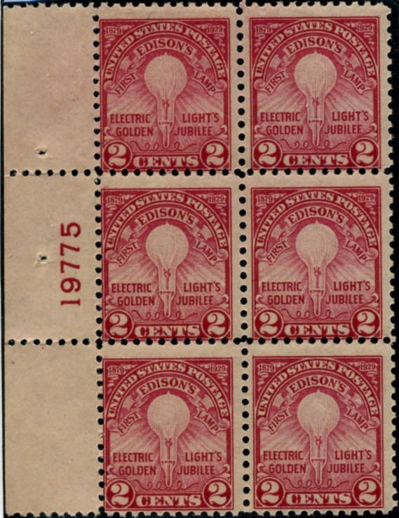 Scott 654 2 Cent Stamp Edison Light Bulb Perforated 11 Plate Block