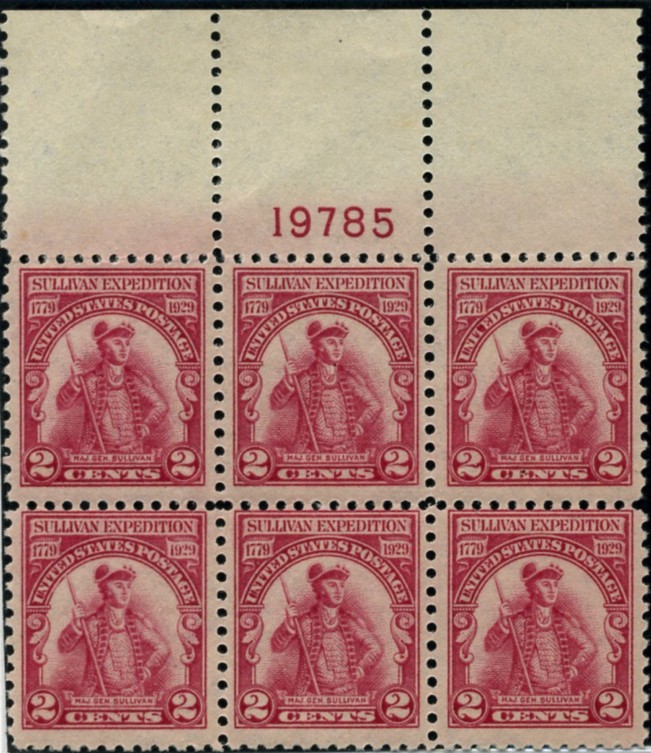 Scott 657 2 Cent Stamp Sullivan Expedition Plate Block