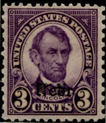 Scott 672 Lincoln 3 Cent Stamp Violet Series of 1922-1925 Overprinted Nebr