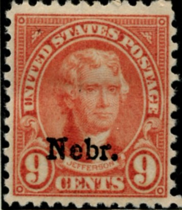 Scott 678 Jefferson 9 Cent Stamp Light Rose Series of 1922-1925 Overprinted Nebr