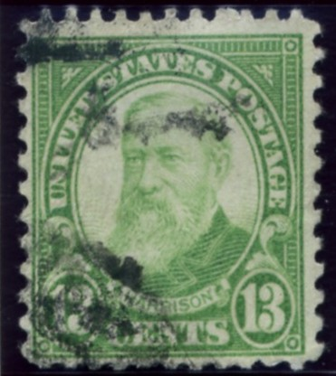 Scott 694 Harrison 13 Cent Stamp Yellow Green Blue Series of 1922-1925 rotary press