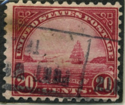 Scott 698 Golden Gate 20 Cent Stamp Carmine Rose Blue Series of 1922-1925 rotary press