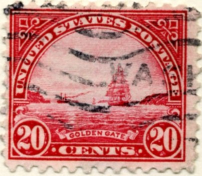 Scott 698 Golden Gate 20 Cent Stamp Carmine Rose Blue Series of 1922-1925 rotary press a