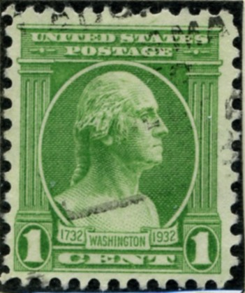 Scott 705 1 Cent Stamp Green Washington Bicentennial Set