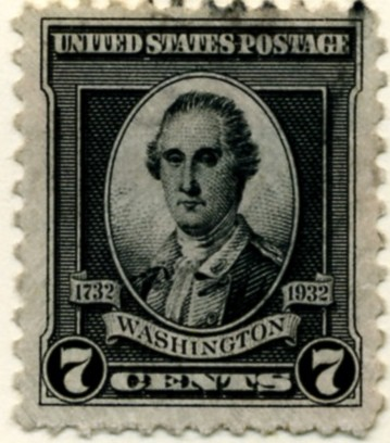 Scott 712 7 Cent Stamp Black Washington Bicentennial Set a