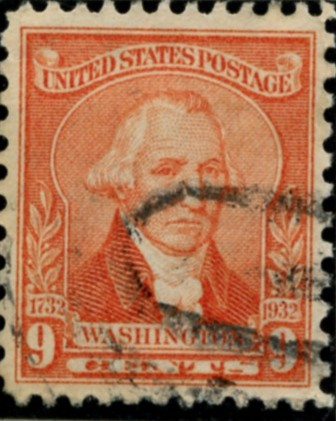 Scott 714 9 Cent Stamp Pale Red Washington Bicentennial Set