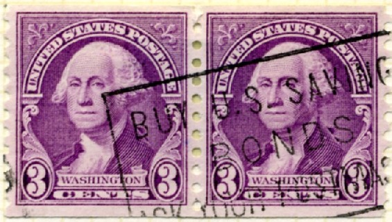 Scott 721 3 Cent Stamp George Washington Coil Stamp Perforated vertically pair a