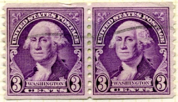 Scott 721 3 Cent Stamp George Washington Coil Stamp Perforated vertically pair b