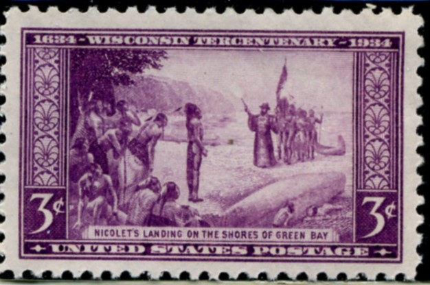 Scott 739 3 Cent Stamp Nicolet's Landing on the shores of Green Bay Wisconsin Tercentenary