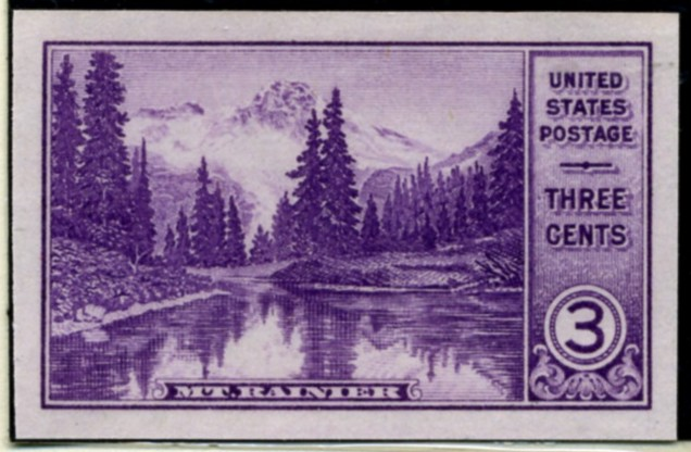 Scott 758 3 Cent Stamp Mount Rainier National Park Farley Special Printing