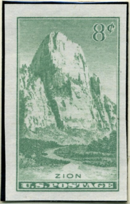 Scott 763 8 Cent Stamp Zion National Park Farley Special Printing