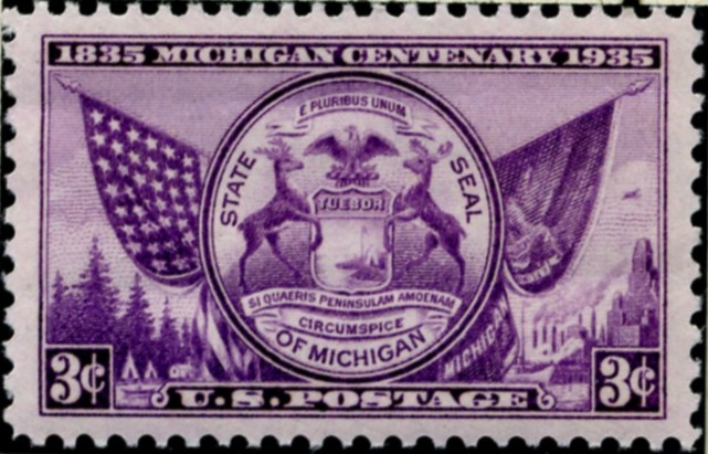 Scott 775 3 Cent Stamp Michigan Centenary
