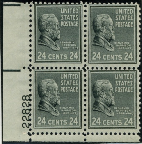 Scott 828 24 Cent Stamp Benjamin Harrison Plate Block