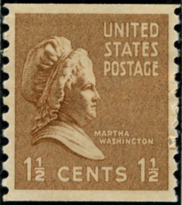 Scott 840 1 1/2 Cent Stamp Martha Washington coil stamp Perforated vertically