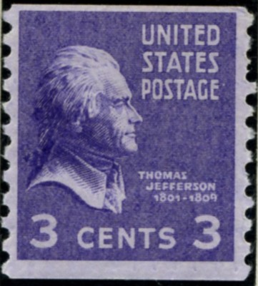 Scott 842 3 Cent Stamp Thomas Jefferson coil stamp Perforated vertically