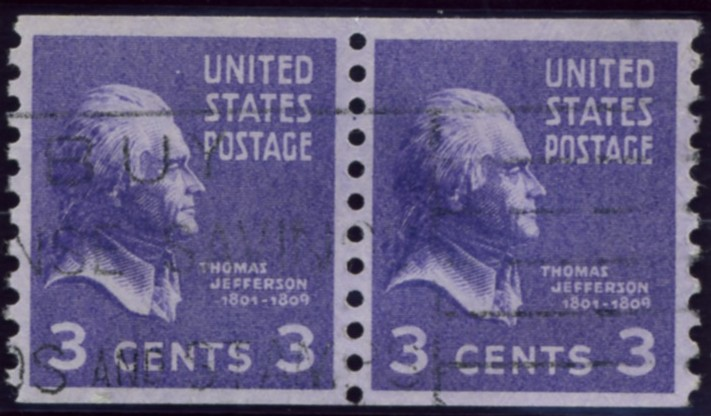 Scott 842 3 Cent Stamp Thomas Jefferson coil stamp Perforated vertically pair
