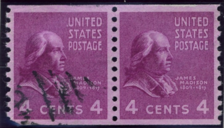 Scott 843 4 Cent Stamp James Madison coil stamp Perforated vertically pair