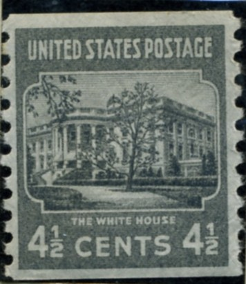 Scott 844 4 1/2 Cent Stamp White House coil stamp Perforated vertically