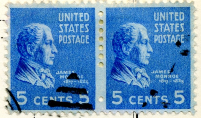 Scott 845 5 Cent Stamp James Monroe coil stamp Perforated vertically pair a